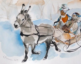 DONKEY 1 - donkey sketch - Original painting - wall art