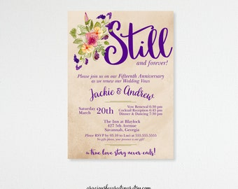 Vow Renewal Invitation, Anniversary, 5th, 15th, 20th, 25th, 35th, 50th, Wedding Invitation, Invite, Post Wedding, Still, Purple, V101251