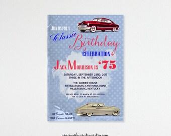 Adult Men's Birthday Invite, male, masculine, antique, car, classic, 50th, 60th, 65th, 70th, 80th 90th, digital, printable invite B42153