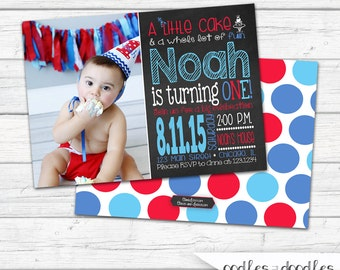 Chalkboard First Birthday Invitation, Boy's 1st Birthday Photo Invitation, Blue, Turquoise, Red, Polka Dots - Printable File or Printed