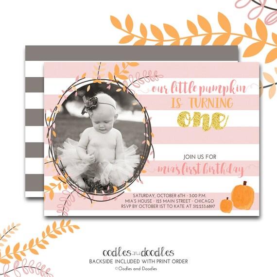Pumpkin 1st Birthday Invitation, Pink And Gold, Orange