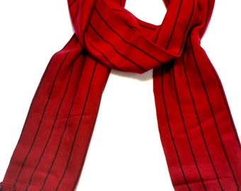 Red and Black Striped Scarf | Men's and Women's Scarves | Handmade Scarves | Fashion Scarves