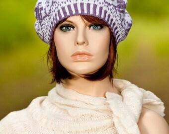Hand knitted fair isle beret / tam / hat, jacquard beret, motifs of flower, white, amethyst colors, for women, for girls, woolen beret.