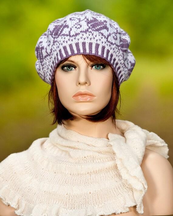 Hand knitted fair isle beret / tam / hat jacquard beret