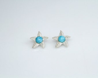 Larimar Earrings, Caribbean Starfish, Handmade Larimar Jewelry for Women, Gifts Under 50