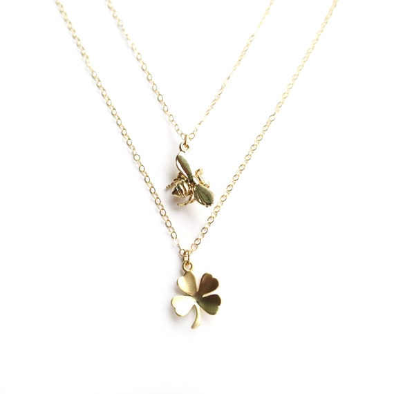Gold Bee Necklace, Gold Clover Necklace, Gold Layer Necklace, Dainty Gold Necklace, Gold Multi Strand Necklace, Four Leaf Clover