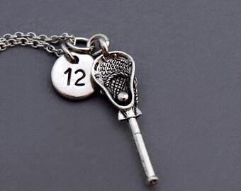 Lacrosse charm necklace, Lacrosse stick necklace, lacrosse team number, Silver lacrosse stick, initial necklace, personalized, monogram