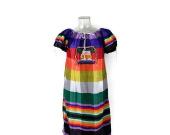 Vintage Hand made Guatemalan Colorful tunic Dress with  Embroidaries/hippies/boho*