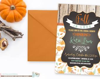 Fall Bridal Shower Invitation, Fall Wedding Shower Invitation, Pumpkin Bridal Shower Invitation, Rustic Bridal Shower Invitation