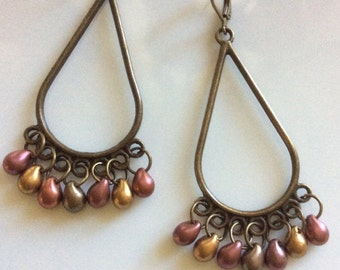 Bohemian Earrings  Long Dangle Earrings  Chandelier Earrings  Boho Earrings  Leverback Earrings  Gypsy Dangles