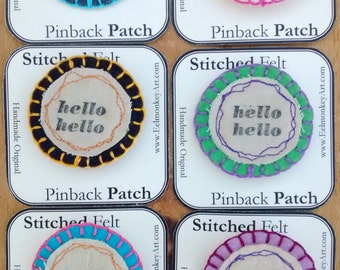 Hello Hello Colorful Felt Brooch - Handmade Pin Patch