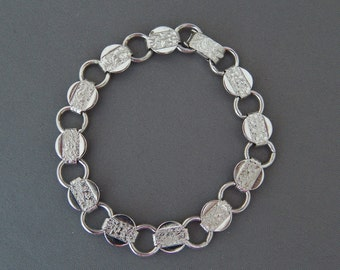 Vintage Sarah Coventry Silver Book Chain Bracelet YOUNG AND GAY, Silver Tone Floral Link Bracelet Coventry, Delicate Silver Bracelet
