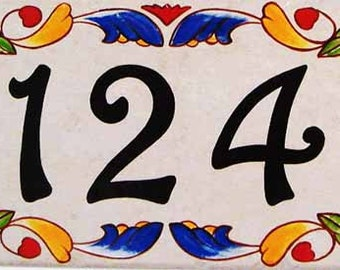 Victorian style house numbers, House number plaque, Italian house numbers,  Spanish house numbers, Porcelain address sign, Tile deco, Unique
