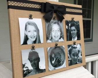 Burlap Memory Board Photo Holder Frame