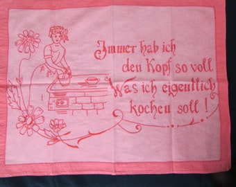 GERMAN MOTTO TOWEL Vintage embroidered red on red German Motto Tea Dish Towell 26x20 T-301