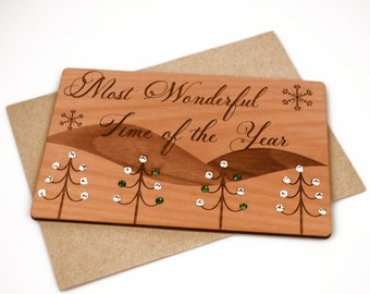 Unique Christmas Card - Wooden Christmas Card - Snow Scene Holiday Card