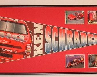 Vintage Nascar Ken Schrader Budwiser #25 Pennant & Cards...Custom Framed