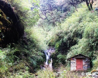 Tiny cabin in the woods Forest photo Woods photo Forest cabin Mountain cabin Waterfall photo Nepal Himalayas Tiny house Photos of Nepal