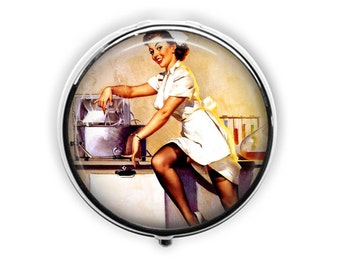 Nurse gift nurse pill box retro nurse pill case vintage pinup nurse gift under 15 vitamin storage medicine.