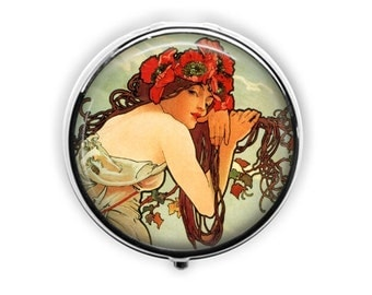 Art nouveau pill box, Alphonse Mucha pill case, girlfriend gift, poppies, mint container, stash box, travel earring storage.