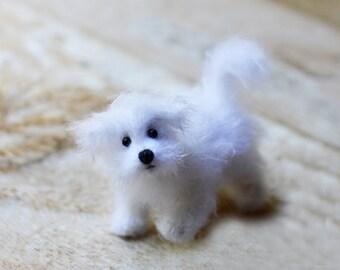 Maltese dog stuffed animal plush dog puppy stuffed dog figurine white maltese doggie