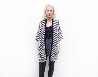 Striped Kimono Cardigan, Summer Fashion, Boho Chic Kimono, Light Jacket, Black and White Stripe Kimono, Floral Kimono, Summer Jacket