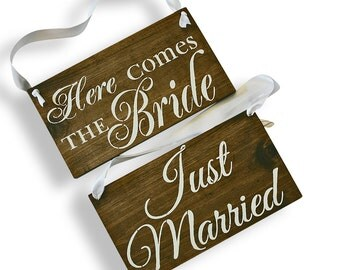 REVERSIBLE Here comes the Bride Sign | DOUBLE SIDED Just Married Sign | Ring Bearer Sign | Rustic Wedding Wood Sign | Wooden Signs | Wedding