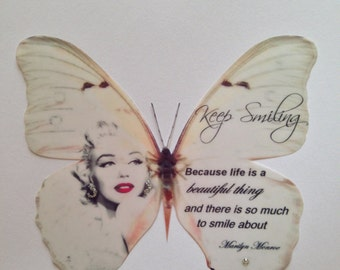 Red Lipstick Marilyn Monroe Quote Print Butterfly + Swarovski 3D Wall Decal 5 inches