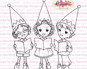 Digital Stamp - Instant Download - Caroling Elves - Trio of Holiday Elves  - Christmas Line Art for Cards & Crafts by Mitzi Sato-Wiuff