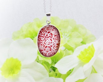 Sterling Silver Roses Pendant Hand Painted Dozen Red Roses Necklace Love Jewellery Gift for Her Unique Jewellery UK Seller