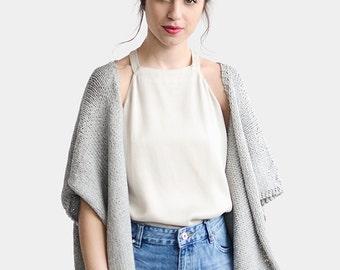 Knit Kimono Cardigan, Short Sleeve Cardigan, Grey Kimono Jacket, Oversize Kimono, Loose Fit Sweater Jacket, Minimal Chic, Cotton Cardigan