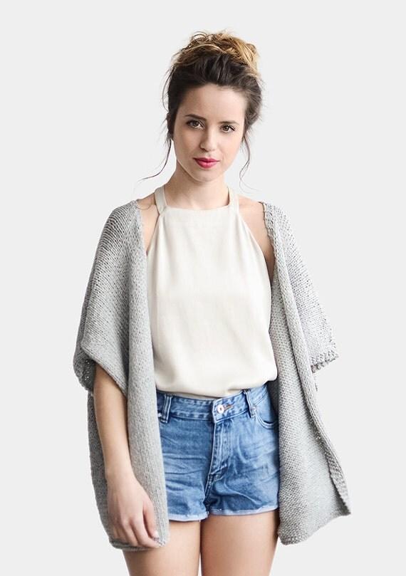 Knit Kimono Cardigan Short Sleeve Cardigan Grey Kimono