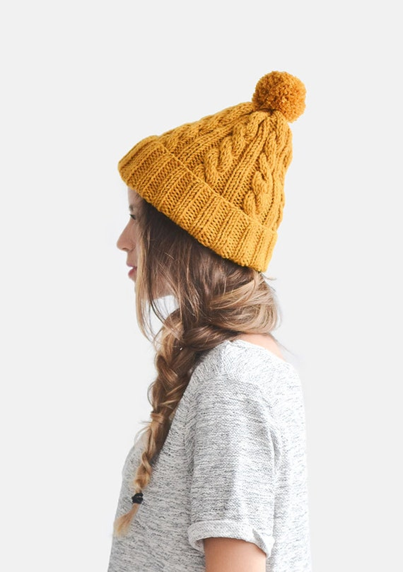 Hand Knit Beanie In Mustard Yellow Cable Knit Womens Winter