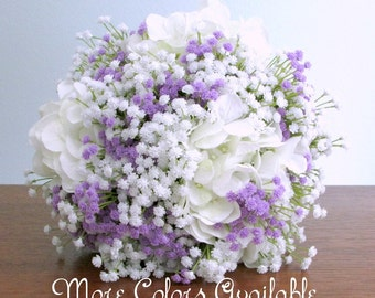 "White Hydrangea and Baby's Breath Wedding Bouquet, Orange, Brown, Coral Pink, Burgundy, Blue, Golden Cream, Lavender, or Green, ""Timeless"""