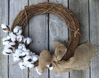 Farmhouse Natural Cotton ball Wreath Home Decor Rustic Cotton and Grapevine Wreath