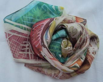Hand painted silk Batik scarf