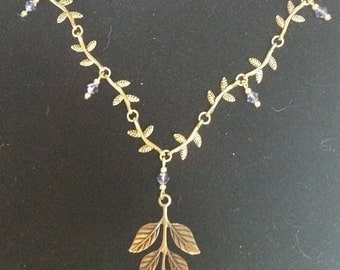 Necklace Brass Woodland Leaves #301