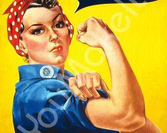 Rosie the Riveter Clipart - Hi-Res Digital Download - We Can Do It Poster - Add Text, Make Your Own Art
