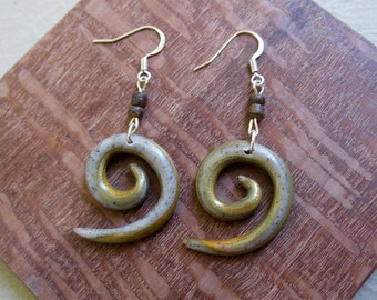 Spiral Polymer Clay Earrings with Wooden Beads