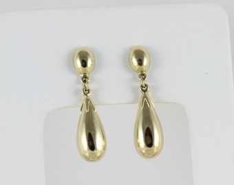 14k Yellow Gold Teardrop Earrings Dangle Drop Earrings