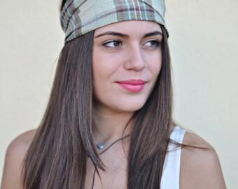 Linen Headband, Plaid Headband, Bohemian Headband, Hair Accessories, Womens Accessories, Womens Turban, Womens Headband, Vintage Headbands