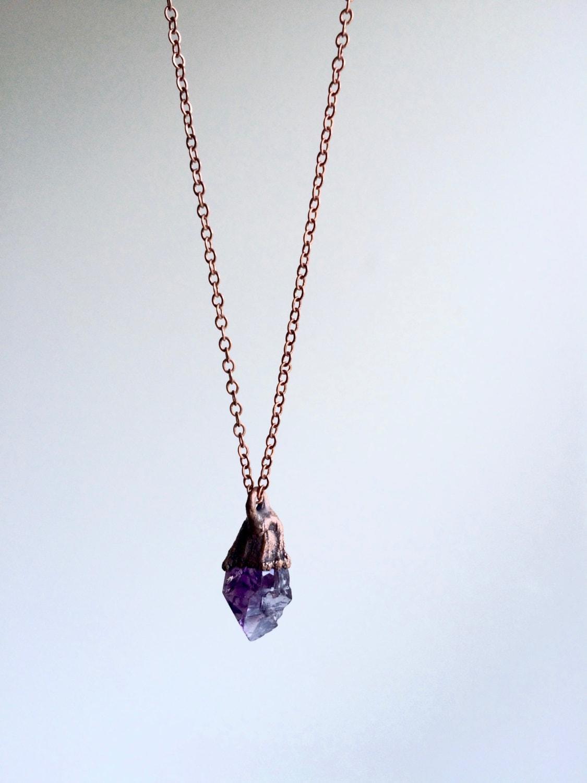 Raw amethyst necklace Raw amethyst crystal pendant Rough