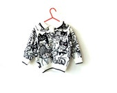 childs zombie cat sweater - aged 2-3 years - kitty cats - black + white