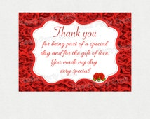Red roses thank you cards. Red roses baby shower invitation. Roses invitation. Red roses baby shower. Red roses invitation
