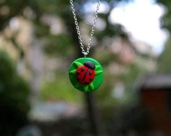 Ladybird on a Leaf Necklace