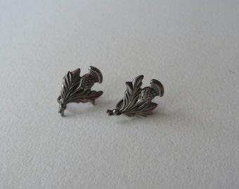 Vintage Sterling Silver Thistle Earrings