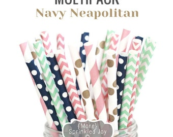 NAVY NEAPOLITAN Multipack, Pink, Navy, Gold, Mint, Chevron, Dots, Nautical,Vintage, 25 Straws, in 5 Designs