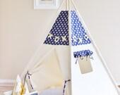 NAVY with Gold Glamour Polka Dot, Canvas, Play House, Teepee, Play Tent, Nursery, Teepee Tent, Kids Teepee, Wigwam, Indoor