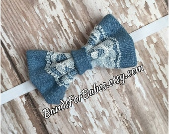 Denim and Lace Bow Headband, Baby Girls Jean and Lace Bow Headband, Infant Headband, Skinny Elastic Bow Headband, Newborn Accessory, Bow