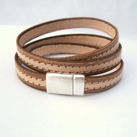 Magnetic clasp flat genuine stitched leather silver magnetic clasp